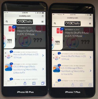 Màn hình iPhone 7 Plus ám vàng hơn iPhone 6 Plus