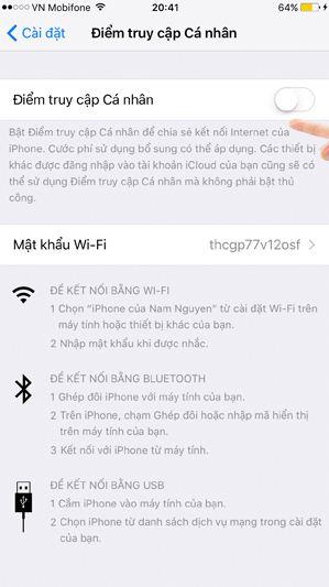 Phát Wifi trên iPhone: Vào bật chức năng Điểm truy cập cá nhân