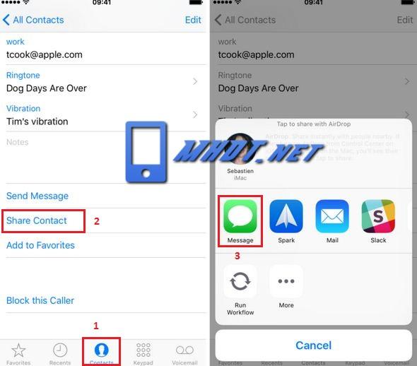 Cách gửi số điện thoại qua tin nhắn trên iPhone