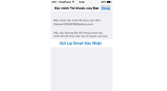 Gửi lại Email xác nhận