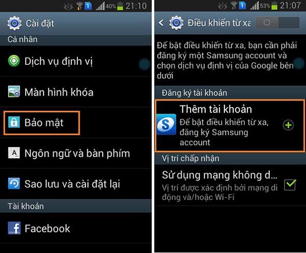 Đăng nhập tài khoản Samsung để tìm điện thoại bị mất