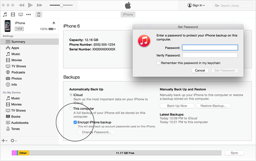 Backup tin nhắn iPhone với iTunes