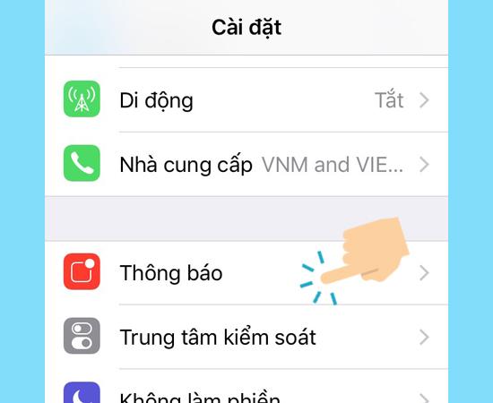 Tính năng thông báo bị tắt làm cho iPhone 7 không hiện thông báo
