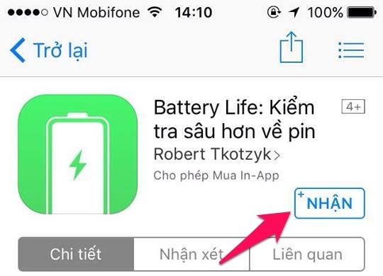 Kiểm tra pin iphone bằng ứng dụng Battery Life